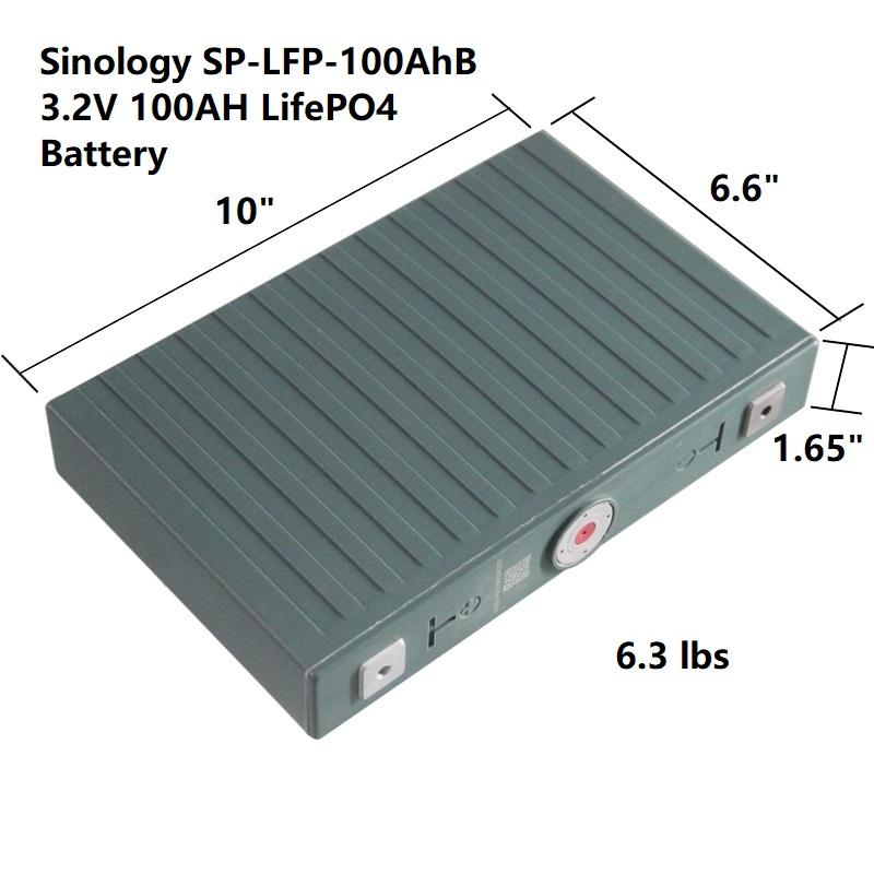Sinology SP-LFP-100AhB 3.2V 100AH LiFePO4 Battery for Solar RV powerwall DIY Lithium Iron Phosphate