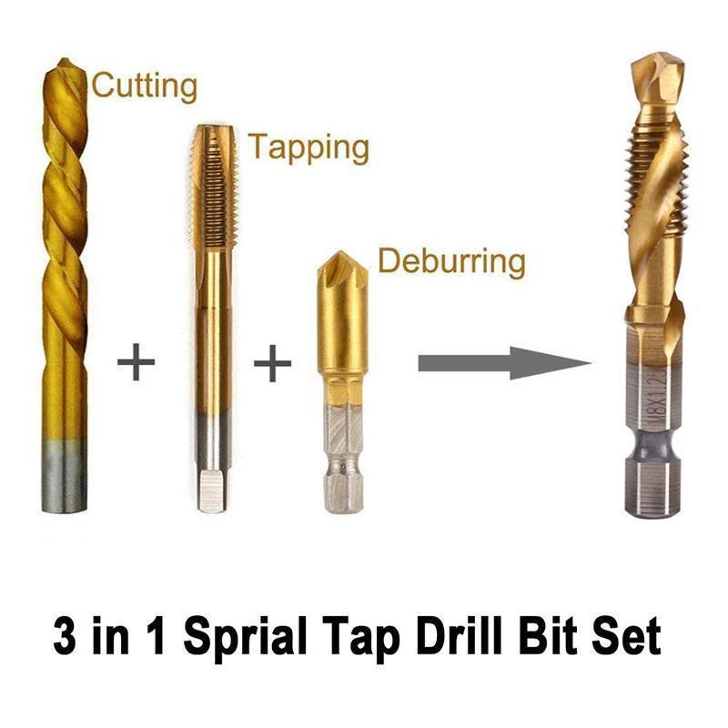 6 Piece Metric Thread Tap Drill Bits Set