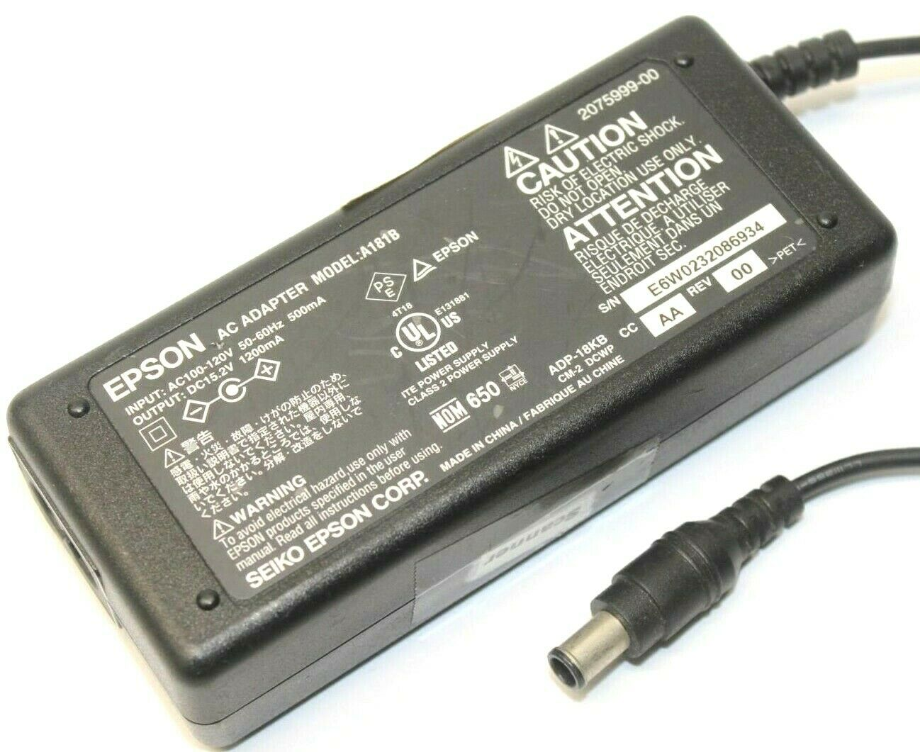 Epson A181B AC Adapter Power Supply Cord Cable Charger  Genuine Original