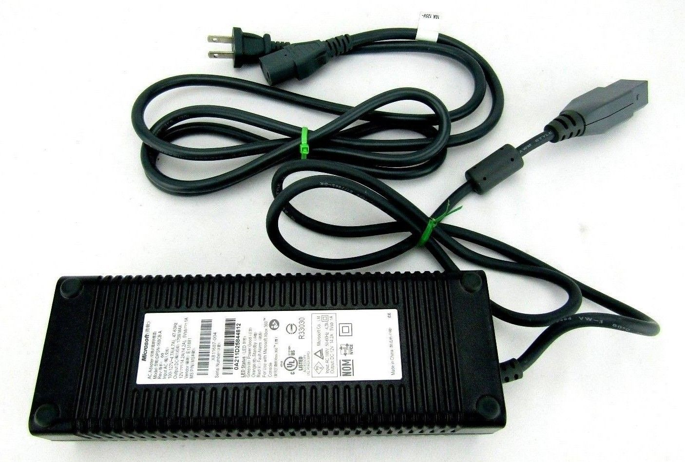 Microsoft  DPSN-168CBA AC Adapter Power Cord Supply Charger Cable Wire Xbox 360 Original Genuine