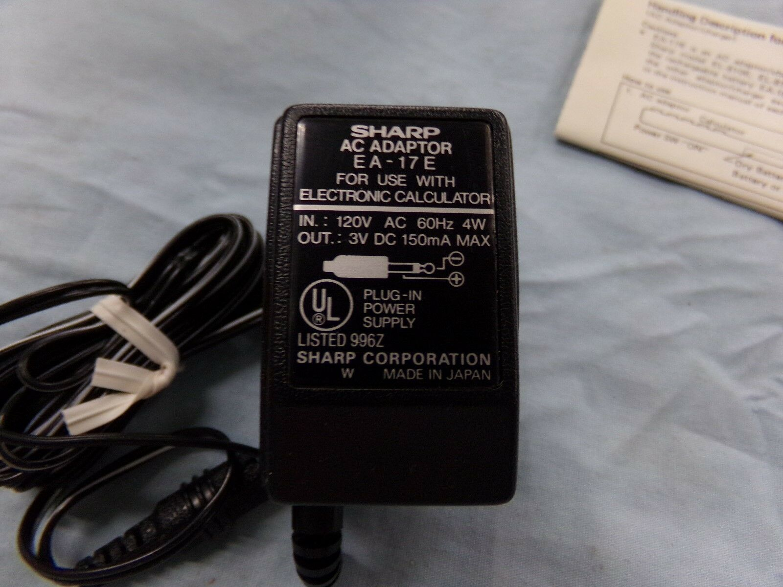 Sharp EA-17E AC Adapter Power Supply Cord Cable Charger Genuine Original